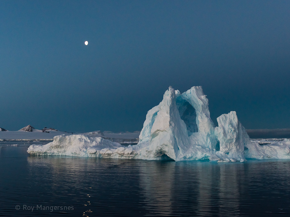 Iceberg in the Antarctic Sound at night - D810, 24-70mm, 1/250 sec, f/5 @ ISO 1600